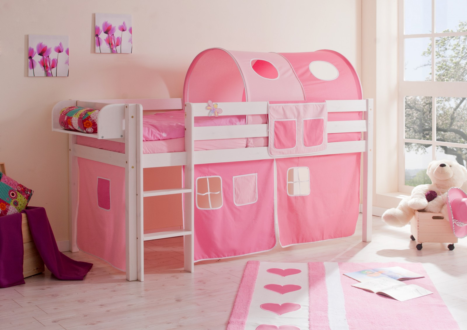 Hochbett  Malte  Kiefer weiß  rosa-pink