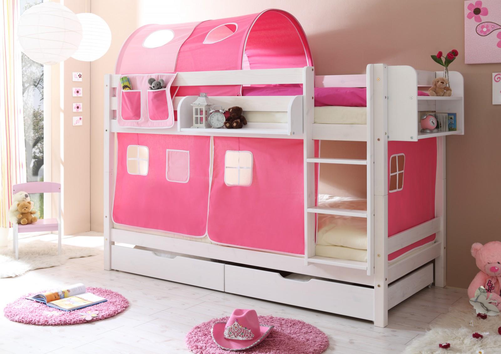 Etagenbett  Marcel  Kiefer weiß  rosa-pink