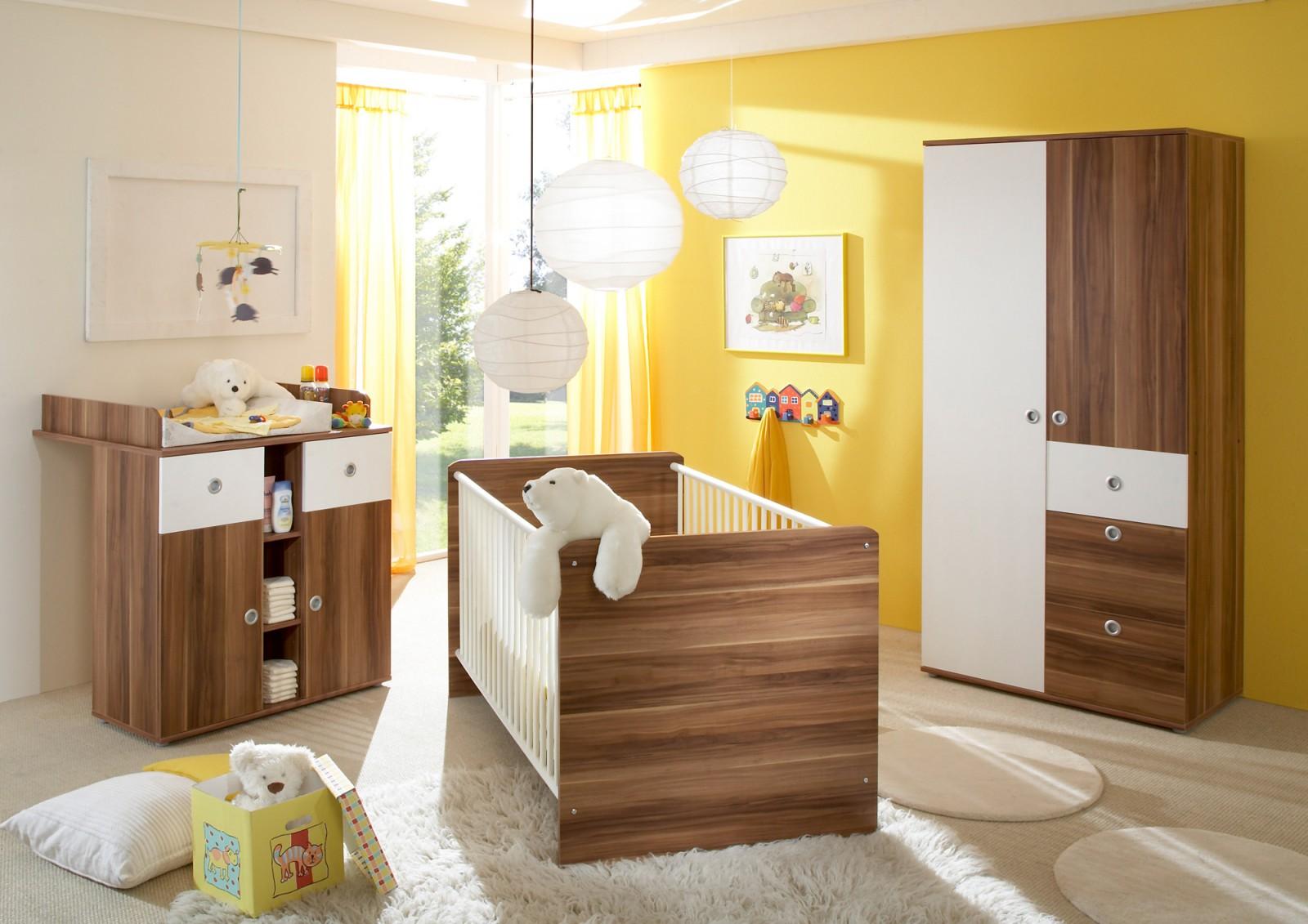 Babyzimmer  Milu  3-teilig Walnuss-weiß