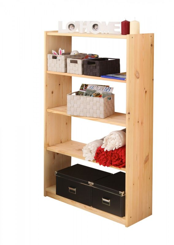 Standregal Bücherregal Kiefer massiv Natur 132cm hoch