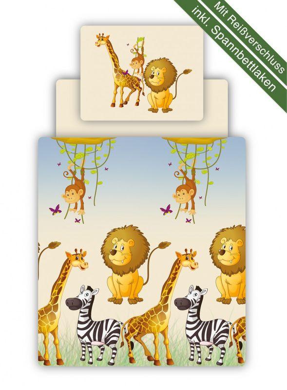 Bettwäsche Set inkl. Spannbettlaken Motiv Safari