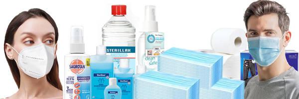 Schutzmasken und Desinfektionsmittel
