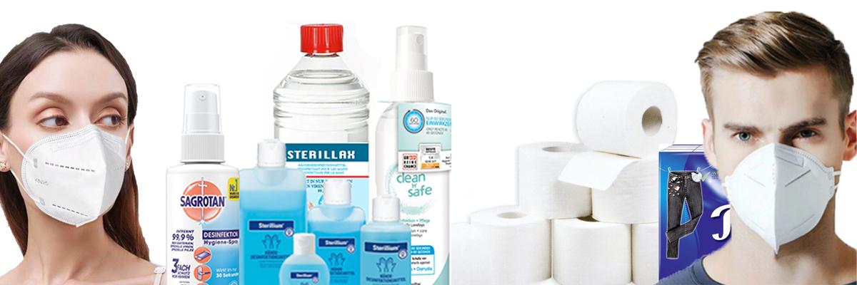 Desinfektionsmittel und Schutzmasken