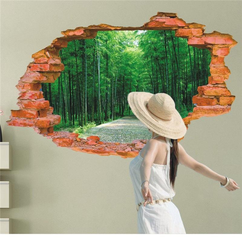 3d bambuswald blick durch die wand wandtattoo wallprints. Black Bedroom Furniture Sets. Home Design Ideas