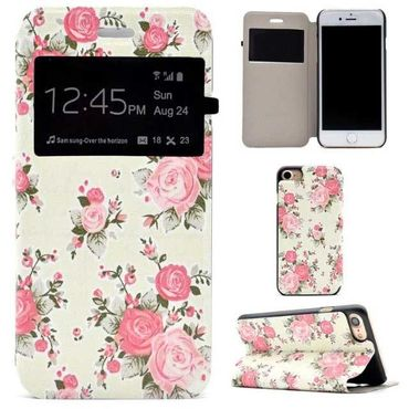 iPhone 7 Flip Hardcase Cover Handyhülle S-View Fenster Flower