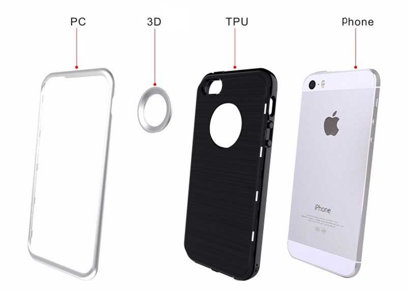 iPhone 7 Plus Silikon Hülle Case dreiteilig