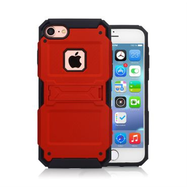 Apple iPhone 7 Kickstand Hybrid Handyhülle Shockproof - Rot