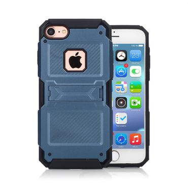 Apple iPhone 7 Kickstand Hybrid Hardcover Anti Shock - Marineblau