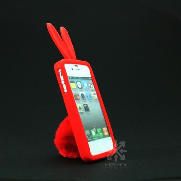 iPhone 4S / 4 Bunny Silikon Case + Hasenschwanz Rot