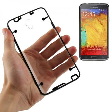 TPU Silicon / Acryl Case Cover Etui Samsung Galaxy Note 3 NEO / N7505 - Transparent Schwarz