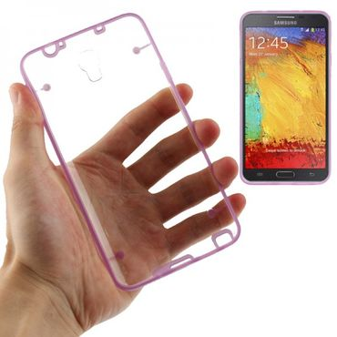 TPU Silicon / Acryl Case Cover Etui Samsung Galaxy Note 3 NEO / N7505 - Transparent Lila Violette