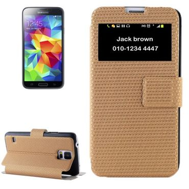 Samsung Galaxy S5 / S5 Neo LUXUS Flip Smart View Cover Etui - Gold