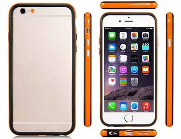 Apple iPhone 7 Silikon Bumper Handyhülle Schwarz Orange kaufen
