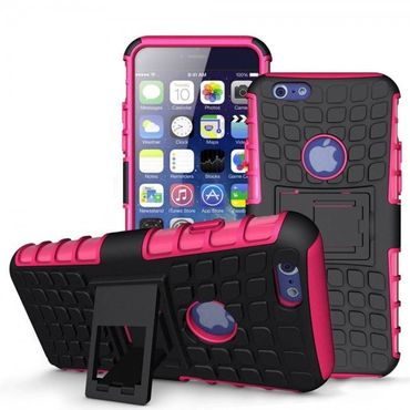 "Apple iPhone 6 / 4,7"" Cover Outdoor Extrem Hybrid Shock Proof Schwarz / Pink"