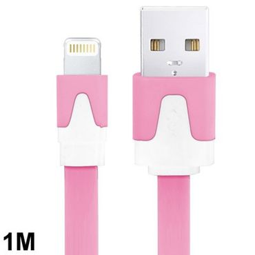 Lightning 8 Pin USB Ladekabel / Daten Sync Flach Kabel 1m - Rosa