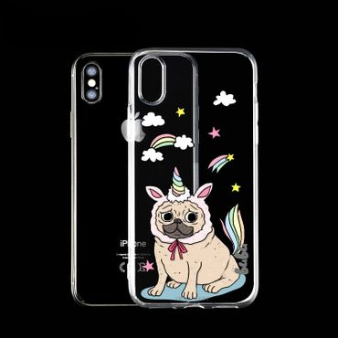 Apple iPhone X Gummi Cover Einhorn Hund - bubu©