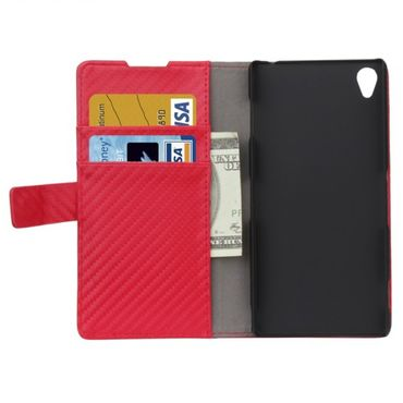 Sony Xperia Z3 Carbon Brieftasche Etui Rot