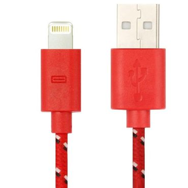Premium Lightning USB  Ladekabel Kabel für iPhone 5C / 5 / 5S / 6 / 1m - Rot