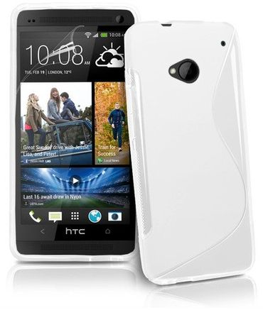 HTC One M7 S-Line TPU Silikon Case Weiss