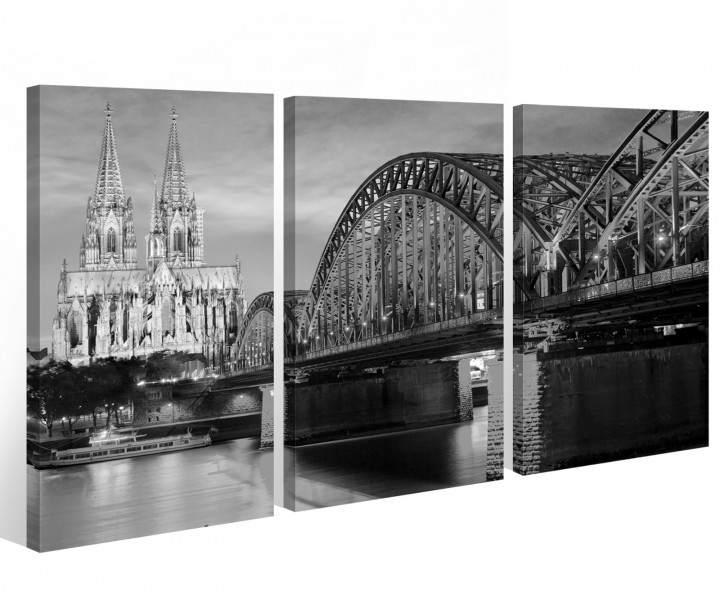 leinwand k ln schwarz wei 3 tlg k lner dom skyline stadt. Black Bedroom Furniture Sets. Home Design Ideas
