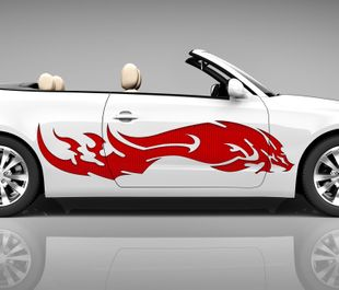 2x Seitendekor 3D Autoaufkleber Drache rot Kopf Digitaldruck Seite Auto Tuning bunt Aufkleber Seitenstreifen Airbrush Racing Autofolie Car Wrapping Tribal Seitentribal CW156