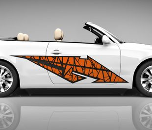 2x Seitendekor 3D Autoaufkleber Blitz orange Digitaldruck Seite Auto Tuning bunt Aufkleber Seitenstreifen Airbrush Racing Autofolie Car Wrapping Tribal Seitentribal CW168