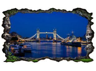 3D Wandtattoo London Skyline Tower Bridge Brücke England Wand Aufkleber Wanddurchbruch sticker selbstklebend Wandbild Wandsticker Wohnzimmer 11P143
