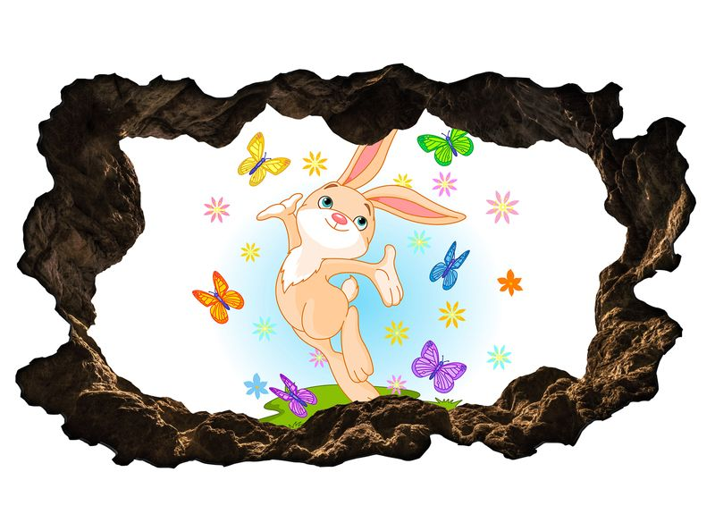 3D Wandtattoo Kinderzimmer Cartoon Hase Schmetterlinge Wiese Ostern ...