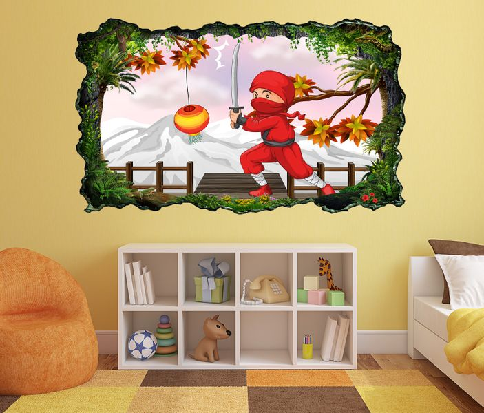 3D Wandtattoo Kinderzimmer Cartoon Ninja Kampf Sport ...