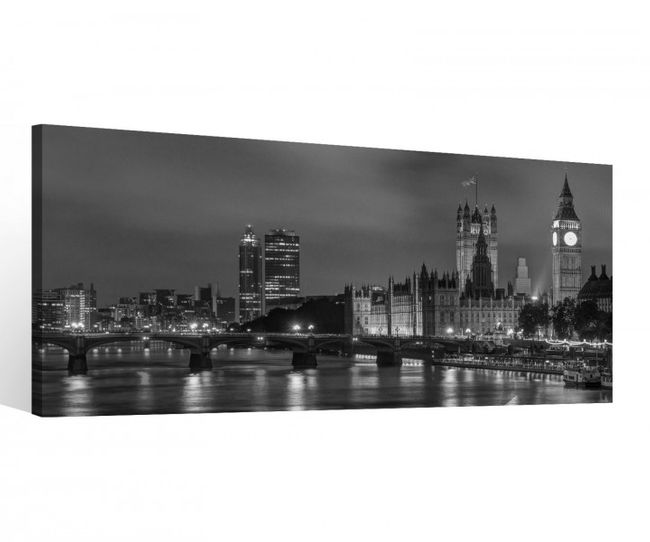 leinwand 1 tlg london schwarz wei stadt skyline bild wandbild aufgespannt 9c074 holz fertig. Black Bedroom Furniture Sets. Home Design Ideas
