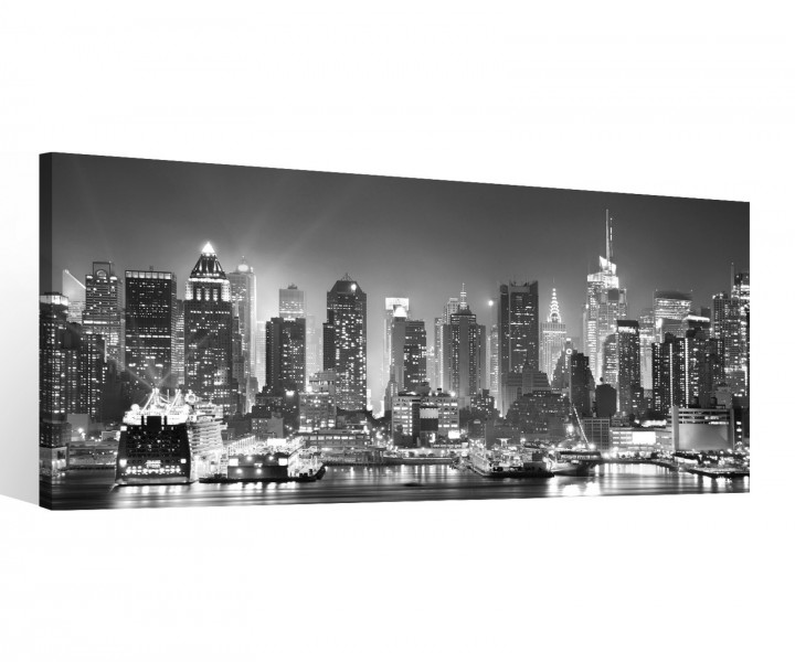 leinwand 1 tlg new york schwarz wei skyline stadt usa bilder wandbild 9c118 holz fertig. Black Bedroom Furniture Sets. Home Design Ideas