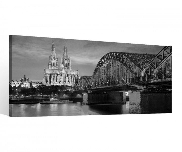 leinwand 1 tlg k ln schwarz wei k lner dom br cke skyline. Black Bedroom Furniture Sets. Home Design Ideas