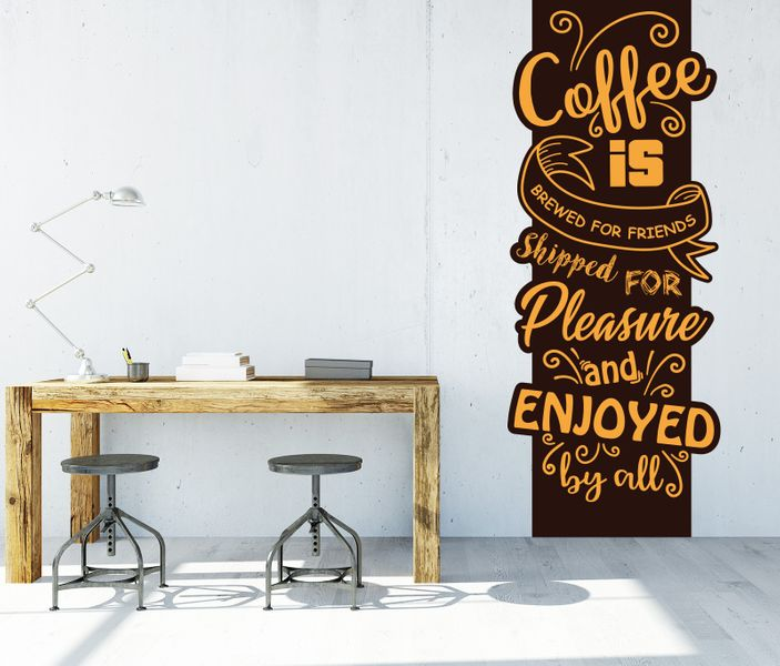 Banner Wandtattoo XXL mit 3D Effekt Spruch Coffee is ...