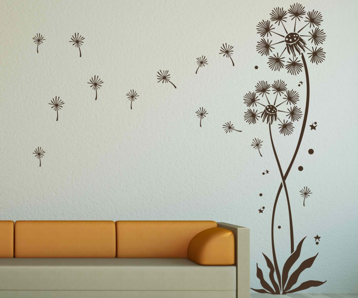 wandtattoo pusteblume set 2 blumen mit 12 flugsamen wiese blume l wenzahn 5e092 wandtattoos. Black Bedroom Furniture Sets. Home Design Ideas