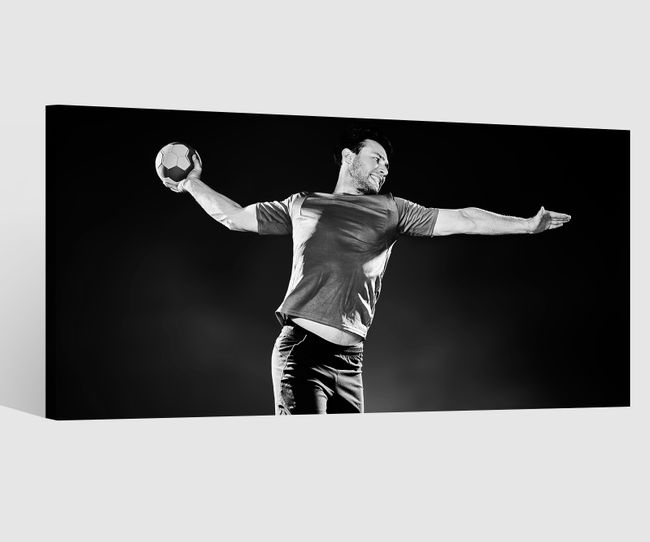 Sport Handball Sportler Ball 1x80x40 canvas ebay BW