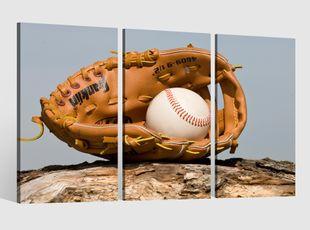 Leinwandbild 3 tlg Baseball Ball Handschuh auf Holz Sport Bild Leinwand Leinwandbilder Wandbild gerahmt 9BE307