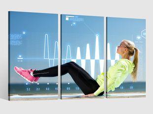 Leinwandbild 3 tlg Bauch Beine Po Training Fitness Frauen Sport Bild Leinwand Leinwandbilder Wandbild gerahmt 9BE310
