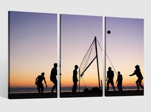 Leinwandbild 3 tlg Beach Volleyball Sport Strand Sand Mann Frau Bild Leinwand Leinwandbilder Wandbild gerahmt 9BE314