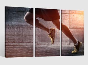 Leinwandbild 3 tlg Beine Lauf Sprint Laufen Sport Fitness Training Bild Leinwand Leinwandbilder Wandbild gerahmt 9BE315