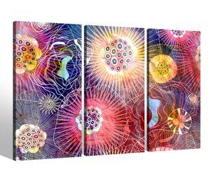 Leinwandbild 3 Tlg abstrakt Hintergrund Muster Netz Farben Bilder Leinwand Leinwandbilder Kunstdruck fertig gerahmt mehrteilig 9BK007