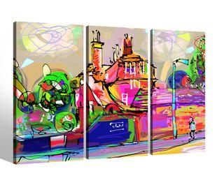 Leinwandbild 3 Tlg abstrakt Kunst bunte Farben Malerei Bilder Leinwand Leinwandbilder Kunstdruck fertig gerahmt mehrteilig 9BK188