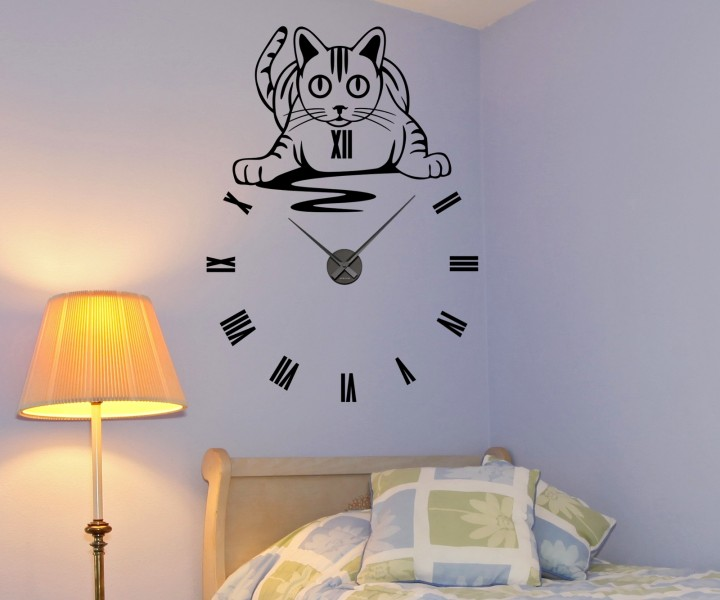 wandtattoo 55x76cm katze mit uhr wanduhr r mische zahlen b ro aufkleber 1x027 wandtattoos. Black Bedroom Furniture Sets. Home Design Ideas