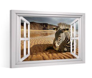 Fensterblick Leinwandbild XXL Afrika Tier Zebra Wüste Sand Leinwand Bild Bilder Leinwandbilder Druck Wandbild Keilrahmen 9CD010