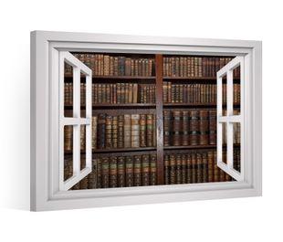 Fensterblick Leinwandbild XXL alte Bücher Regal Bibliothek Leinwand Bild Bilder Leinwandbilder Druck Wandbild Keilrahmen 9CD015