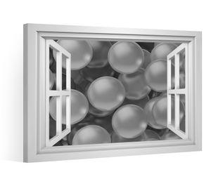Fensterblick Leinwandbild schwarz XXL 3D Effekt Ball Bälle Leinwand Bild Bilder Leinwandbilder Keilrahmen 9CE007