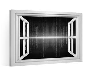 Fensterblick Leinwandbild schwarz XXL 3D Effekt Binär Code Zahl Auge Leinwand Bild Bilder Leinwandbilder Keilrahmen 9CE009