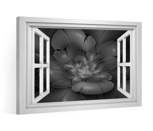 Fensterblick Leinwandbild schwarz XXL 3D Effekt Blume Hintergrund Leinwand Bild Bilder Leinwandbilder Keilrahmen 9CE016