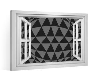 Fensterblick Leinwandbild schwarz XXL 3D Effekt Dreieck Leinwand Bild Bilder Leinwandbilder Keilrahmen 9CE039