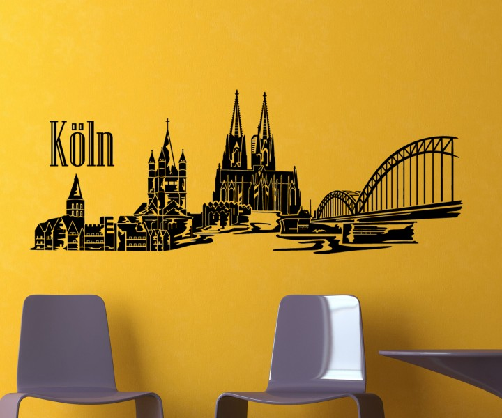 wandtattoo k ln k lner dom skyline xxl deutschland wand aufkleber stadt 1m134 wandtattoos. Black Bedroom Furniture Sets. Home Design Ideas