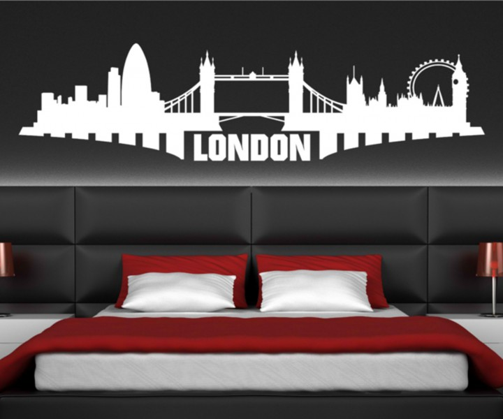 wandtattoo london stadt skyline wand sticker aufkleber wandbild 1m021 wandtattoos skyline st dte. Black Bedroom Furniture Sets. Home Design Ideas